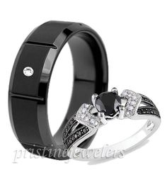 Black Wedding Rings His And Hers