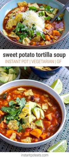 Instant Pot Sweet Tortilla Soup (Vegan, Vegetarian, Gluten-Free) MM- made on stove, used butternut squash- delicious. Vegetarian Tortilla Soup, Vegan Vegetarian, Vegetarian Soups, Vegetarian Recipes Instant Pot, Vegetarian Sweets, Instant Recipes, Whole Food Recipes, Soup Recipes, Healthy Recipes