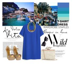 """Capri."" by statisticam ❤ liked on Polyvore featuring Dolce&Gabbana, MANGO, Gucci, Talbots, Stella & Dot, Blue, capri, tshirtdress and polyvorecontest"