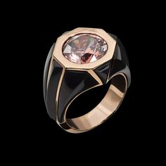 Titan Zircon Ring features a Rose Zircon set in rose gold and inlaid with black jade.