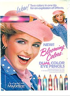 I need to bring back the obvious dual-tone shadow look. I am not even kidding. ---S---Maybelline Blooming Colors dual color eye pencils Vintage Makeup Ads, Retro Makeup, Vintage Beauty, Vintage Ads, Vintage Trends, Vintage Designs, Retro Advertising, Retro Ads, Vintage Advertisements
