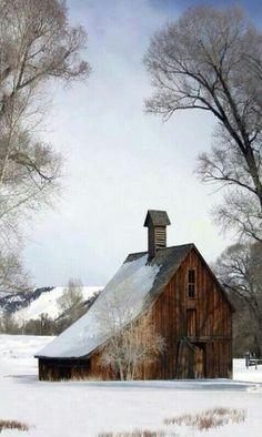 Great salt-Box style Barn in a snowy wonderland.