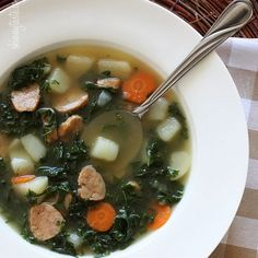 Kale and Potato Soup with Turkey Sausage Recipe Soups with chicken sausage, kale, olive oil, onion, carrots, garlic, fat free reduced sodium chicken broth, water, red potato, red pepper flakes, salt, ground pepper
