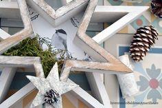 Efecto envejecido con pintura y cera para decorar una estrella de madera Magic Hands, Pallet Art, Xmas, Diy, Crafts, Furniture, Gardens, Wooden Sewing Box, Paint Wood Furniture