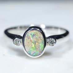 Australian Solid Boulder Opal and Diamond Silver Ring - Size 6 Code - RS83 Silver Opal Ring, Opal Rings, Silver Rings, Natural Opal, Natural Diamonds, Diamond Mines, Silver Ring Designs, Opal Color, Australian Opal