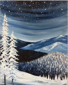 Pick a painting invite your friends and enjoy step-by-step instruction with our experienced and enthusiastic local artists You ll leave with a one-of-a-kind creation and be ready to come back again # Winter Painting, Winter Art, Christmas Canvas, Christmas Art, Christmas Paintings On Canvas, Painting & Drawing, Watercolor Paintings, Back Painting, Easy Paintings
