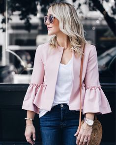 Pale pink + statement sleeve.