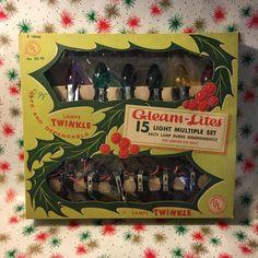 Gleam Lites Twinkle Christmas Lights Multi by BlackKatKollectibles Vintage Christmas Lights, Antique Christmas, Xmas, Christmas Tree, String Lights, Twinkle Twinkle, Lamp Light, Bulb, Etsy Shop