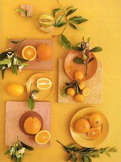 Tablescape of lemons and oranges Fruit And Veg, Fruits And Veggies, Vegetables, Green And Orange, Orange Color, Lemon Yellow, Fruit Photography, Oranges And Lemons, Happy Colors
