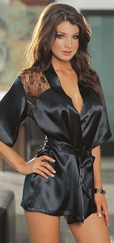 Sexy Lingerie Satin Lace Black Kimono Intimate Sleepwear Robe Night Gown