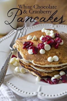 White Chocolate Cranberry Pancakes - Yellow Bliss Road