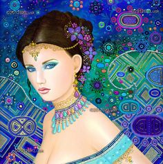 beautiful gypsy paintings and photos | Large Oil Painting Gypsy Fairy Goddess Peacock India Flowers Sari Gold ...