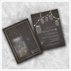 Mason jar Fire Fly Wedding Invitation by ImpressivePrint on Etsy