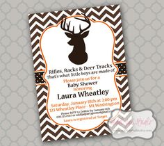 Lacy huntingthemedeergenderrevealinvitationbymeghilyson rifles racks and deer tracks printable baby showerbirthday invitation send me your event information for the invitationthank you card by filmwisefo