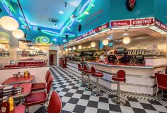 Neon lights at Ed's Easy Diner, Grand Arcade Cambridge