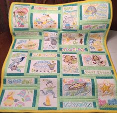 Embroidered nursery rhyme quilt, for your special addition. Each block is embroidered, some with appliqué. Can be tailored for either boy, or girl, or