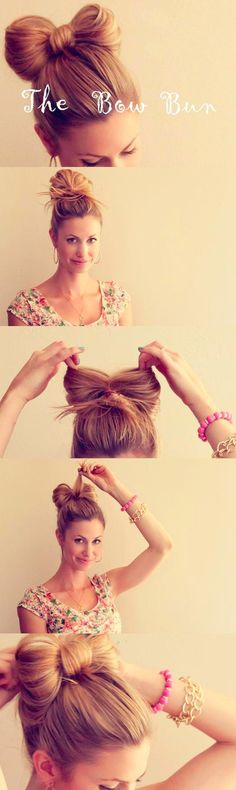 The Hair Bow Bun - love this so much, doubt it would work in my hair, but I love, love, love! Once my hair is long enough I know I could attempt putting my hair up in this hair bow Bun! the hair bow Bun style! Pretty Hairstyles, Girl Hairstyles, Wedding Hairstyles, Medium Hairstyles, Quick Hairstyles, Latest Hairstyles, Curly Haircuts, Formal Hairstyles, Fringe Hairstyles