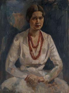 Portrait of a Woman with a Red Necklace - Nikolai Milioti -   1933