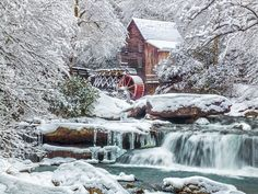 Glade Springs Grist Mill in winter; Babcock State Park, WV