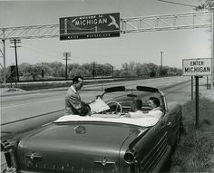 Michigan Sign at State Line 1958... I wonder if the road had as many pot holes and bumps back then as they do now when you cross from Ohio to Michigan... ;)| Flickr - Photo Sharing!