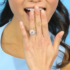 Brides.com: Our Favorite Celebrity Engagement Rings. Jamie Chung's Engagement Ring Bryan Greenberg proposed to Jamie Chung with a gorgeous (and huge!) classic round-cut diamond engagement ring. The proposal, which came as a total surprise to Chung, happened during the 2013 holiday season in her hometown of San Francisco.