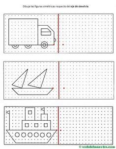 simetria para niños-2 Preschool Worksheets, Preschool Learning, Preschool Activities, Teaching, Math Logic Games, Visual Perceptual Activities, Graph Paper Art, Math For Kids, Drawing Lessons
