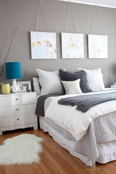 Grey Bedroom, love the 3 pictures! by gloriaU