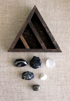 crystal and mineral stone collection in handmade triangle wood curio shelf - made to order Minerals And Gemstones, Crystals Minerals, Rocks And Minerals, Stones And Crystals, Chakra Crystals, Healing Crystals, Slate Stone, Spiritus, Crystal Magic
