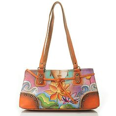Anuschka Hand-Painted Leather Studded Multi Compartment East-West Satchel