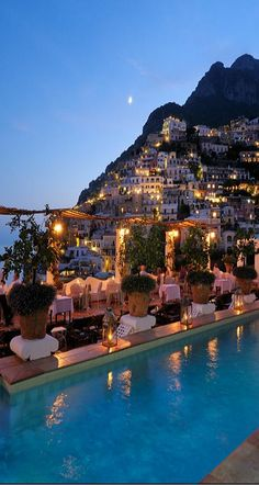 What a view! Positano, Italy is looking beautiful at dusk.