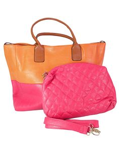 Color Block Tote (pink/orange) $48.00 Throw this on and go!  Even includes a smaller bag for make-up and other must have summer accessories.