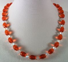 Ruby Red and Swarovski Crystal Beaded Necklace by HotShotDesigns