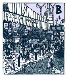 """B - Borough Market"" from ""London A-Z"" Complete Boxed Set linocuts by Tobias Till, 2012. http://www.tobias-till.co.uk/. Tags: Linocut, Cut, Print, Linoleum, Lino, Carving, Block, Woodcut, Helen Elstone, Buildings, Architecture, People."