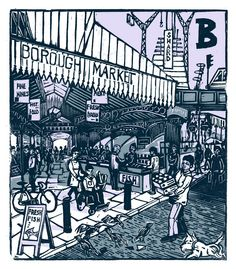 """B - Borough Market"" from ""London A-Z"" Complete Boxed Set linocuts by Tobias Till, 2012. http://www.tobias-till.co.uk/. Tags: Linocut, Cut, Print, Linoleum, Lino, Carving, Block, Woodcut, Helen Elstone, Buildings, Architecture, People."