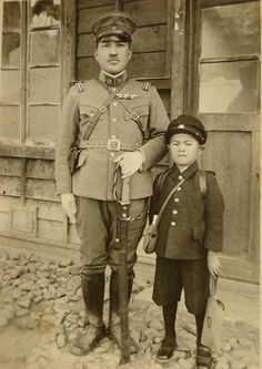 Japanese army officer Torikai Tsuneo with his son in Japanese occupied Korea