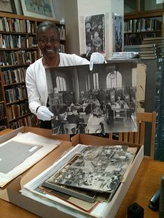 Dorothy Lazard, Oakland History Room Librarian, is showing off here an amazing box of old library photos she had just unearthed. Go check them out in the History Room! Say hi to Dorothy while you are there!