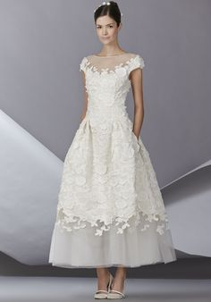Tulle cap sleeve tea length dress with Faille floral emb