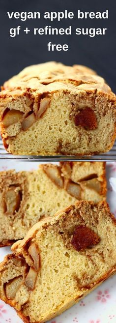 This Gluten-Free Vegan Apple Bread is fruity and fragrant, super easy to make and perfect for sharing! Great for breakfast, brunch, snacks, dessert or anything in between! Egg-free and refined sugar free. No knead and yeast-free. Milk can be replaced Gluten Free Baking, Gluten Free Recipes, Baking Recipes, Vegan Recipes, Easy Recipes, Cake Vegan, Vegan Bread, Vegan Apple Cake, Sugar Free Apple Cake