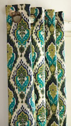 Turquoise, Citron, Lapis and Green Majolica Ikat Lined Grommet Panel, 56x84 #SimplyAbundant #HomeDecor