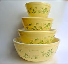 Vintage Pyrex Shenandoah Nesting Bowl Set 1982. $70.00, via Etsy.