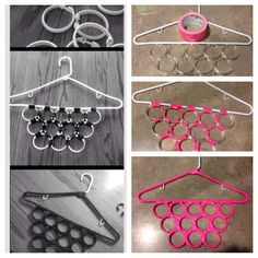 DIY scarf hanger. *You can also add the shower curtain rings to the inside of…