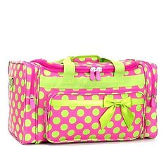 Ever Moda Pink Green Polkadot 3 Piece Carry on Rolling Luggage Set ...
