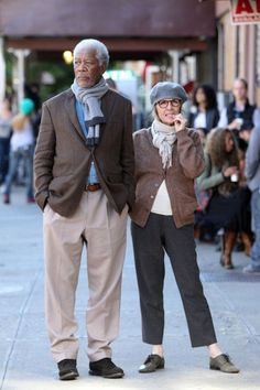 "Morgan Freeman and Diane Keaton film ""Life Itself"" in September in New York City."
