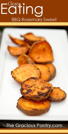 Clean Eating BBQ Rosemary Sweet Potatoes - try with Epicure's rosemary garlic oven fries seasoning