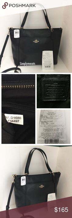"""COACH CROSSGRAIN LEATHER POCKET TOTE HANDBAG COACH CROSSGRAIN LEATHER POCKET TOTE HANDBAG F34497 NWT MSRP $395   Details: • Style No. F34497 • MSRP $395 • Color: Black  • Zip Top Closure • Outside front magnetic snap closure • Outside rear slip pocket • Inside zip, cell phone and multifunction pockets • Do not come with dust bag • Leather Handles - 9"""" drop with a detachable adjustable shoulder strap • 12.5"""" at bottom, 15.75"""" at top (L) 11"""" (H) 4.5"""" (D) Coach Bags Shoulder Bags"""