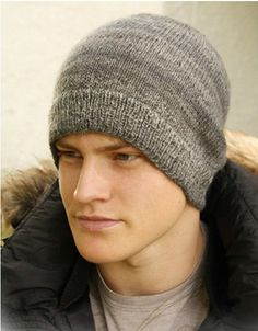 Wool Beanie for Men - Light Thin Hand Knit Winter Hiking Skiing Snowboarding Gent's Hat (Choose Color and Seize - Made to Order)