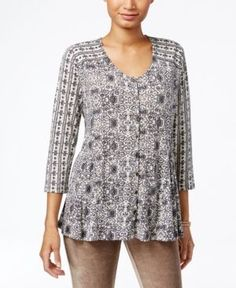 Style & Co Petite Mixed-Print Swing Blouse, Only at Macy's - Tan/Beige P/XS
