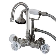 Aqua Vintage AE7T8WCL Celebrity Wall Mount Clawfoot Tub Faucet, Satin Nickel - Price: $569.95 & FREE Shipping over $99     #kingstonbrass