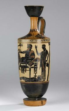 Lekythos of pottery decorated in black figure style on a white ground with a scene representing Achilles delivering up the body of Hector to Priam: Ancient Mediterranean, Ancient Greek, Attic, by the Edinburgh Painter, 5th century BC, c. 500 BC