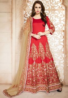 Charismatic Coral Red Embroidered Anarkali Suit
